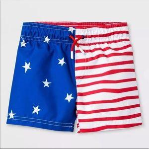 Cat & Jack Toddler Boys' Flag Swim Trunks UPF 50+